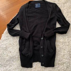 AEO • Black Long Sleeve Long Cardigan with pockets